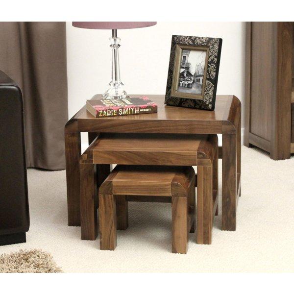 Shiro Walnut Nest Of Three Coffee Tables
