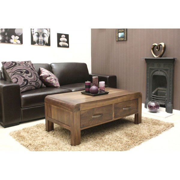 Shiro Walnut Four Drawer Coffee Table