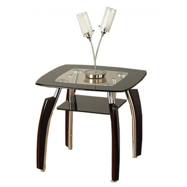 Elena Black Lamp Table with Curved Legs