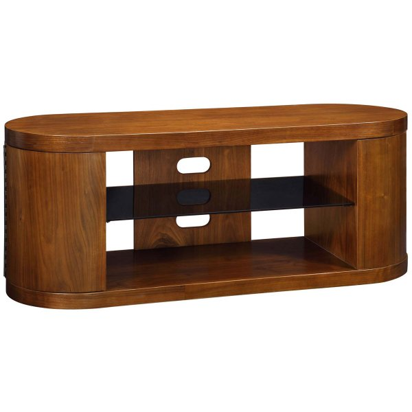 Jual Florence Walnut TV Cabinet with Black Glass