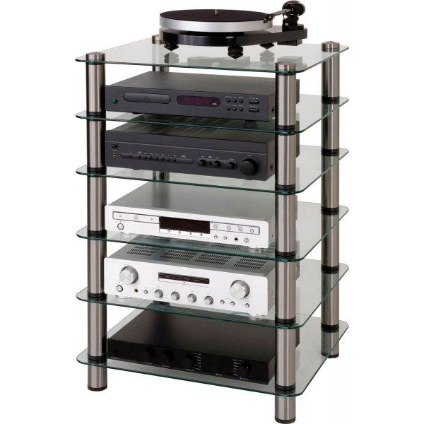 Optimum Prelude Six Shelf Hifi Stand - Smoked Glass Stainless Steel