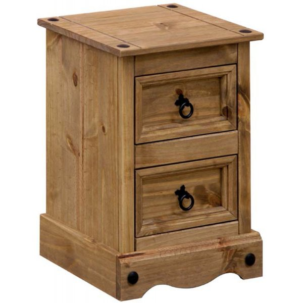 Core Products CR509 Classic Corona 2 Drawer Bedside Chest - Rustic Pine