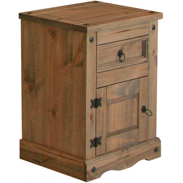 Core Products CR107 Classic Corona 1 Door 1 Drawer Bedside Chest - Rustic Pine