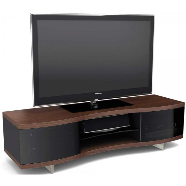 """BDI OLA 8137 Chocolate Walnut Curved Cabinet For TVs up to 70\"""" TV\'s"""