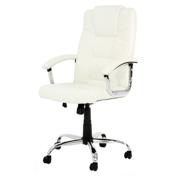 Alphason Houston High Back Leather Executive Desk Chair - Cream