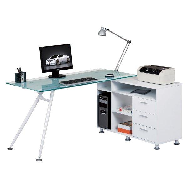 Alphason Augusta Frosted Glass Corner Desk
