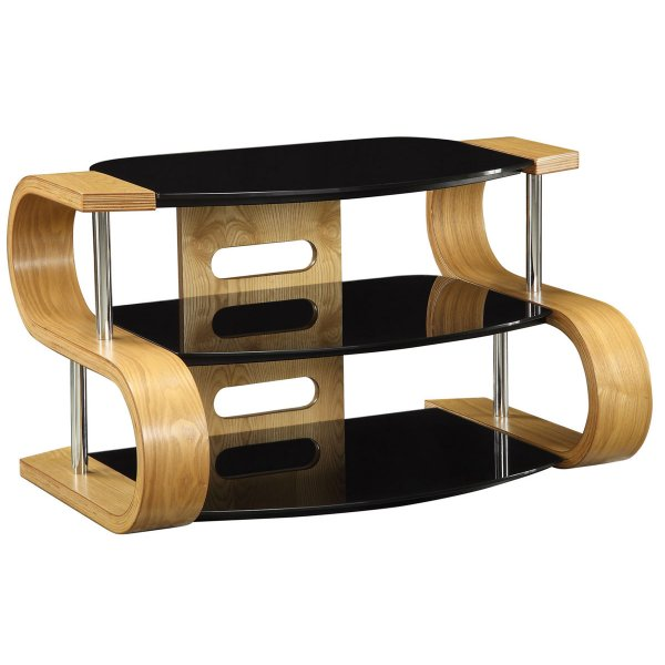 Jual Florence Curved Oak and glass TV Stand for up to 37\'\'
