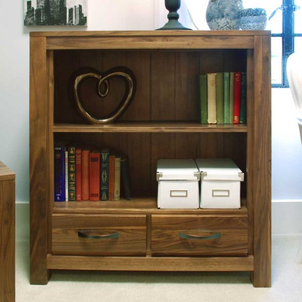 Baumhaus CWC01B Mayan Walnut Low Bookcase