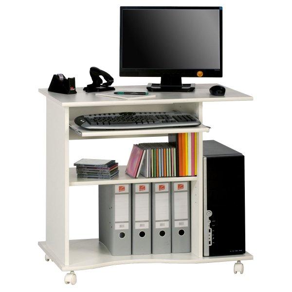 Maja 4024-5535 Madrid White Computer Trolley Desk with Castors