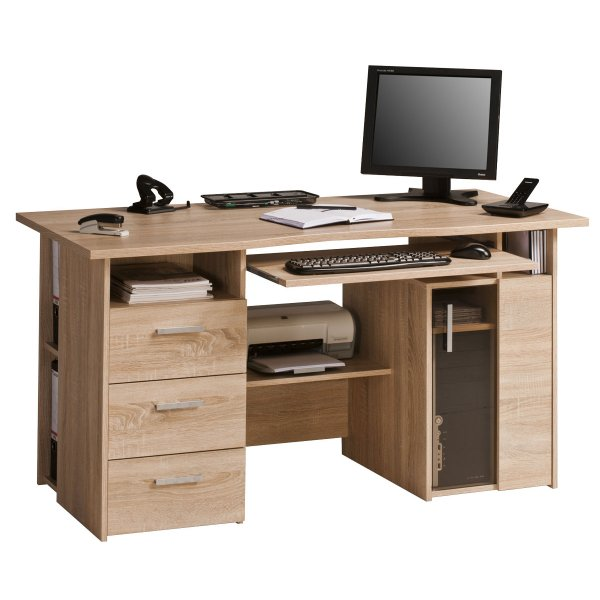 Maja Capital Oak Computer Desk Workstation