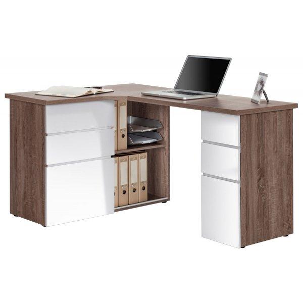Maja Oxford Truffle Oak & White Corner Desk