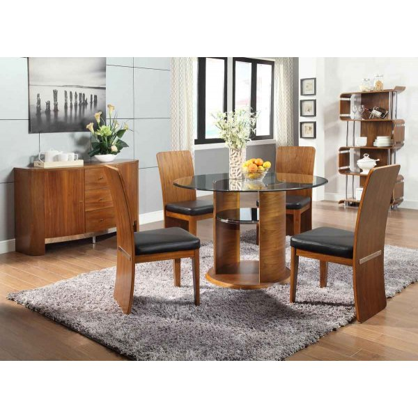 Jual JF603 Walnut Dining Table, 4 Chairs & Sideboard