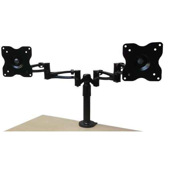 Black Double Arm Twin Screen Desk Mount