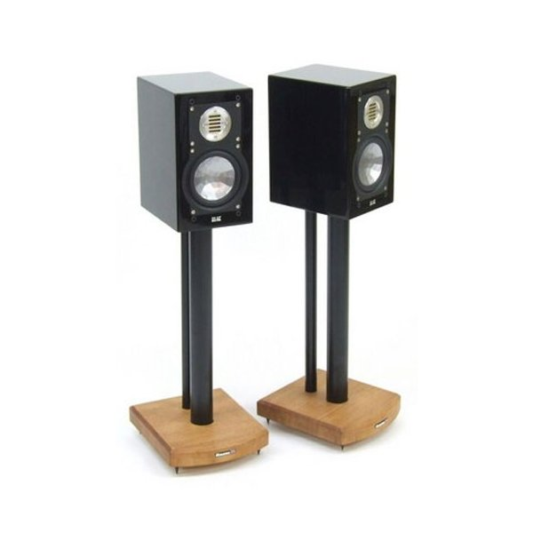 MOSECO 5 Black & Medium Bamboo Speaker Stands