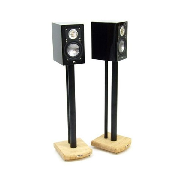 MOSECO 7 Black & Natural Bamboo Speaker Stands