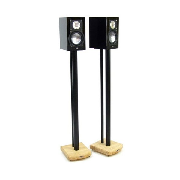 MOSECO 10 Black & Natural Bamboo Speaker Stands