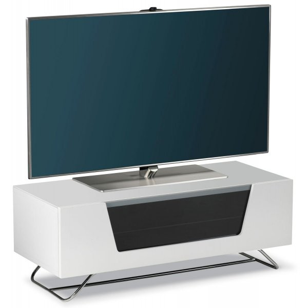 Alphason Chromium White Tv Stand For Up To 50 Tvs