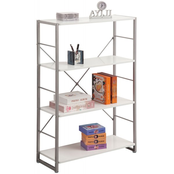 Alphason Cabrini White 4 Shelf Bookcase