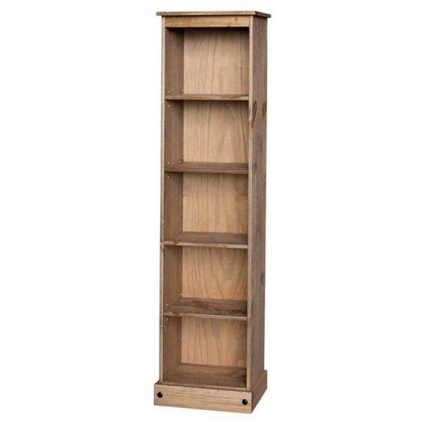 Core Products CR946 Classic Corona Tall Narrow 4 Shelf Bookcase - Rustic Pine