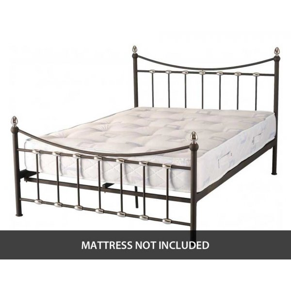 """ValuFurniture Dunbar 4\'6\"""" Double Bed in Black and Chrome"""