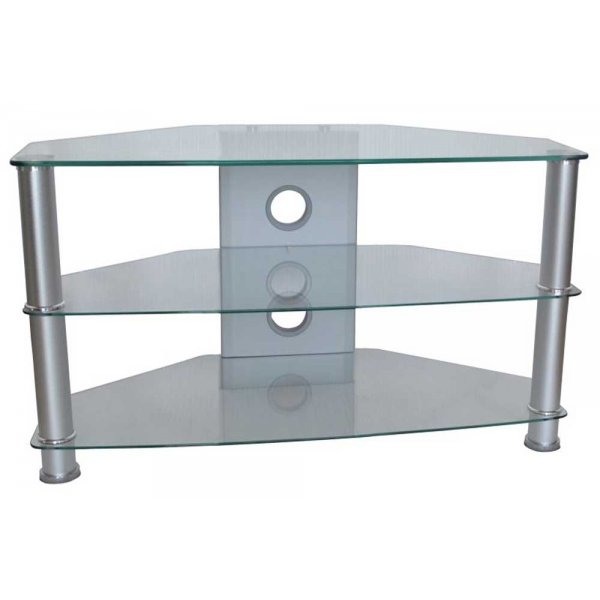 """MMT Jet Clear Glass Universal TV Stand for TVs up to 37\"""""""