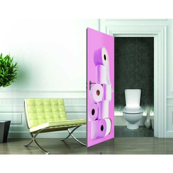 1Wall Pink Toilet Roll Door Mural