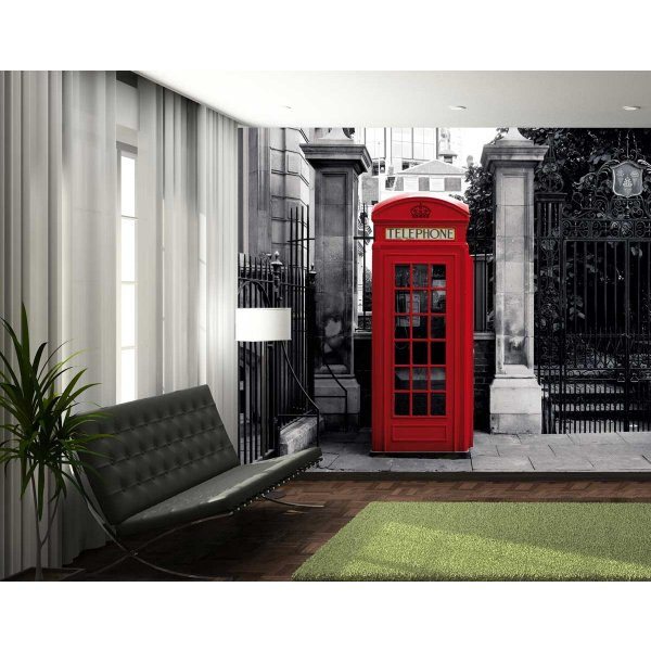 1Wall Giant Iconic British Red Telephone Box Wall Mural