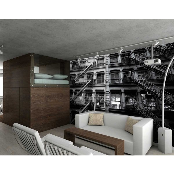 1Wall Giant Old Look New York Apartment Block Wall Mural