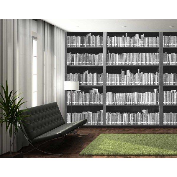 1Wall Giant Monochrome Bookshelf Wall Mural
