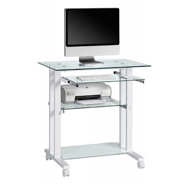 Maja Putney 1650-9799 Premium Glass Computer Desk with White Frame