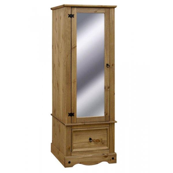 Core Products CR525 Classic Corona 1 Door Mirrored Wardrobe - Rustic Pine