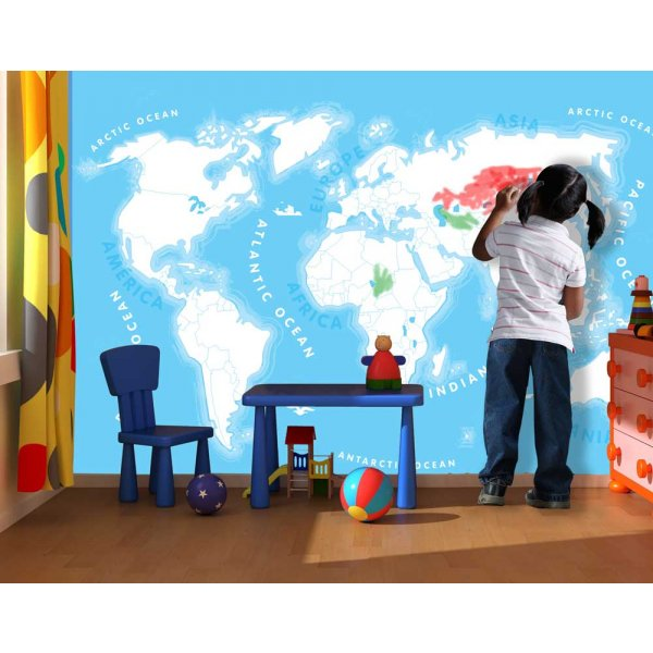 1Wall Kids World Map Wall Mural