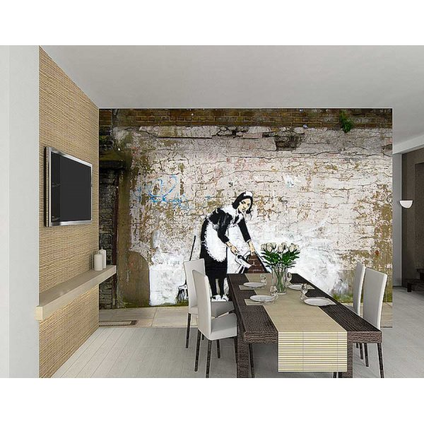 1Wall Giant Maid Graffiti Wall Mural