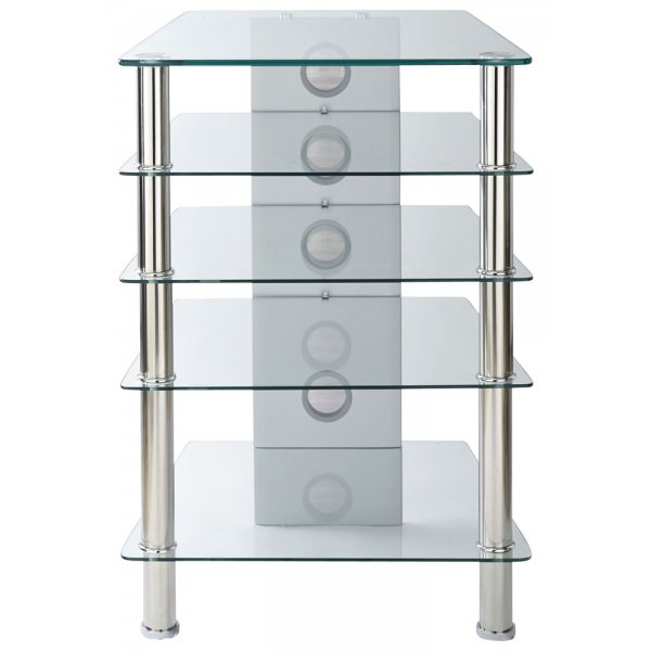 MMT 5 Shelf Premium Clear Glass Hifi Stand
