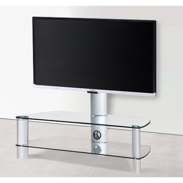 """Stil Stand 2053CHCL Clear Glass TV Stand with Swivel for TVs up to 55\"""""""