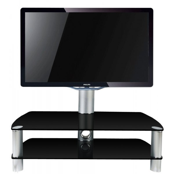 Stil Stand 2053CHBL Black Glass TV Stand with Swivel For TVs up to 55""