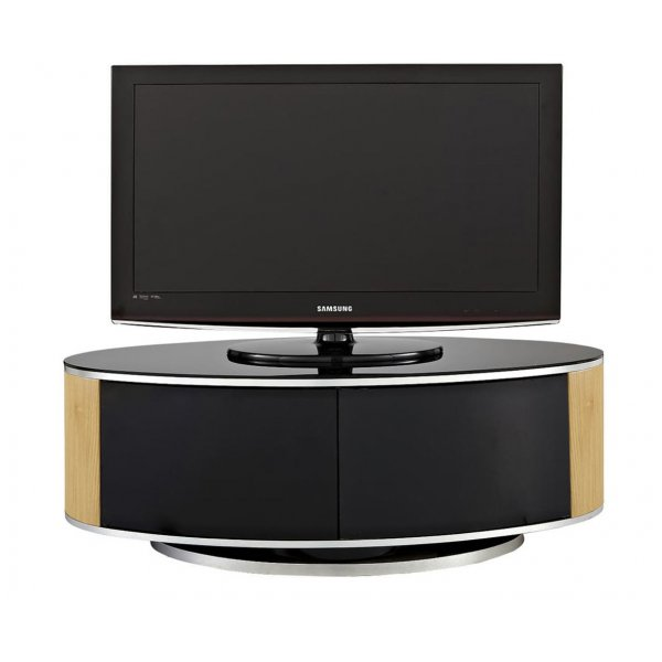 MDA LUNA High Gloss Black & Oak Oval TV Cabinet