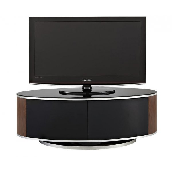 MDA LUNA High Gloss Black & Walnut Oval TV Cabinet