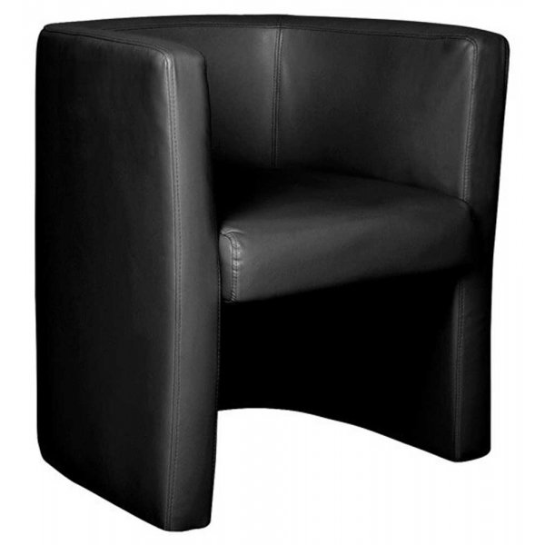 Ultimum High Back Leather Faced Black Tub Chair