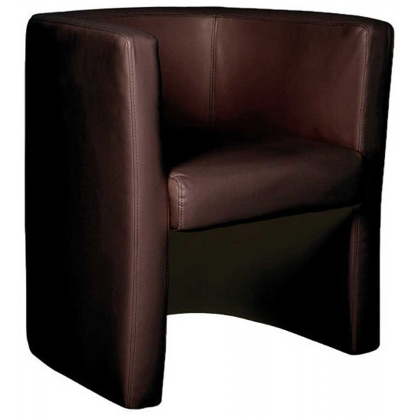 Ultimum High Back Leather Faced Brown Tub Chair