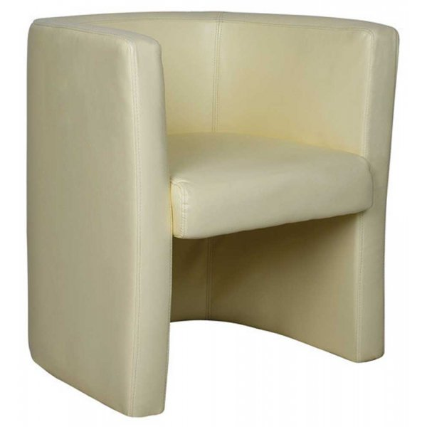 Ultimum High Back Leather Faced Cream Tub Chair