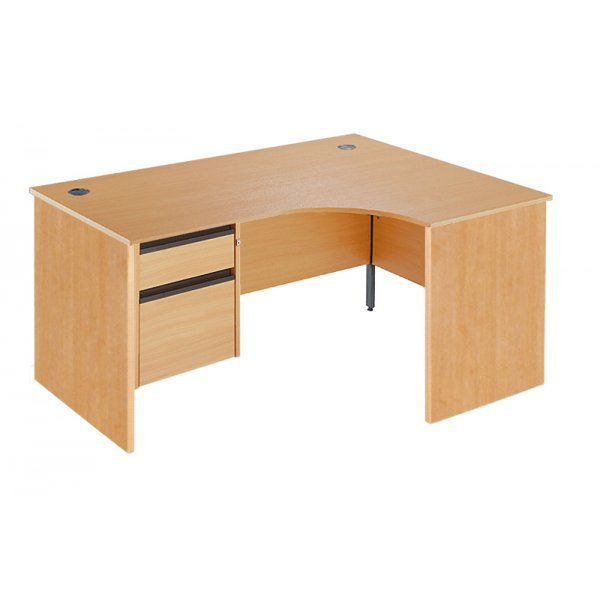 DSK Office Left Handed Fixed Panel Ergonomic Desk - 2 Drawer in Beech