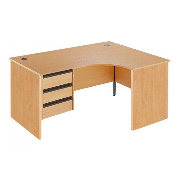 DSK Office Left Handed Fixed Panel Ergonomic Desk - 3 Drawer in Beech