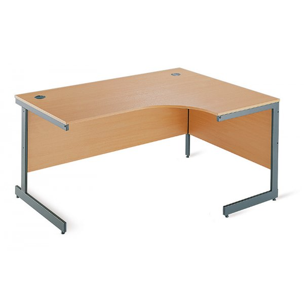 DSK Office Left Handed Ergonomic Desk With Cantilever Legs - 1800mm in Beech