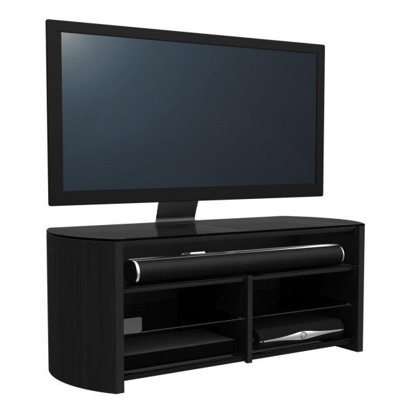 Alphason Finewoods FW1350SB-B Black Cantilever TV Stand with Soundbar Shelf