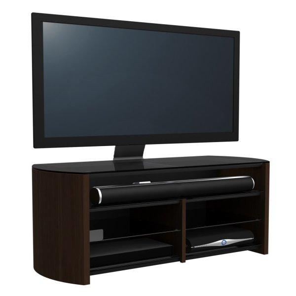 Alphason FW1350SB-W Walnut TV Stand with Bracket and Soundbar Shelf