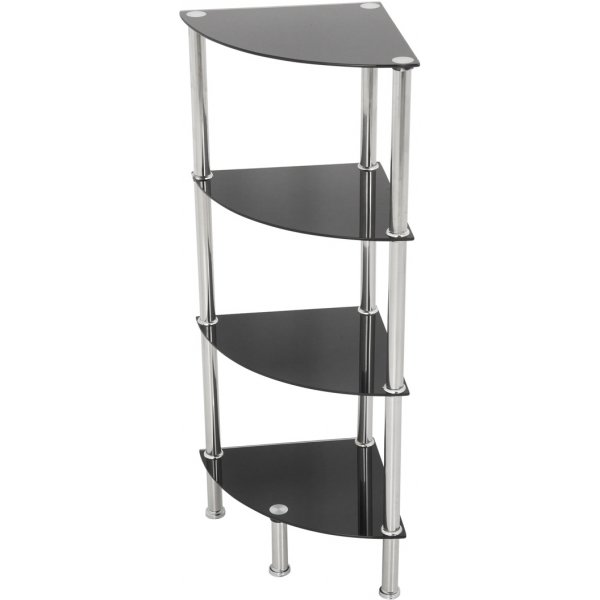 AVF S64 4 Shelf Corner Unit - Black