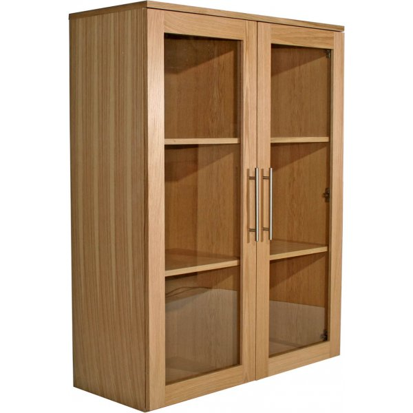 Alphason Oakwood Veneered Wide Glazed Bookcase