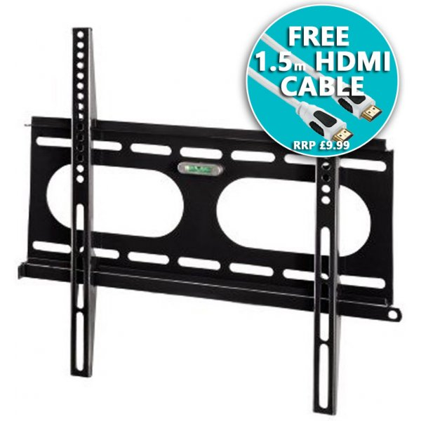 "Hama ""Ultraslim\"" TV Wall Bracket 23\"" - 55\"" - Black with Cable"