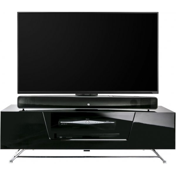 """Alphason Chromium 1200 Black Cantilever TV Stand for up to 50\"""" TVs"""
